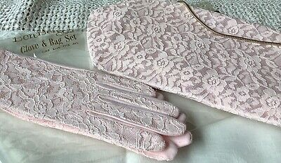 Vintage Pink Lace Clutch Bag & Pink Gloves In Original Packaging c1950's