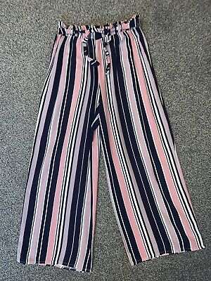 TK Maxx Girls Striped Pink Navy & White Cullottes Trousers Age 12 Years