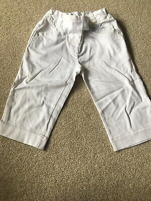 Girls Next White 3/4 Length Trousers Age 3-4 Worn Once