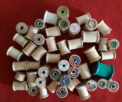 Lot of 48 Vintage Wooden Sewing Thread Spools Empty