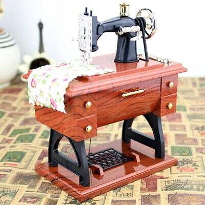 Creative Retro Nostalgic Wood Sewing Machine Music Box