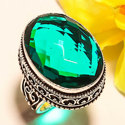 Faceted Afghan Tourmaline Vintage Style 925 Sterling Silver Ring 7