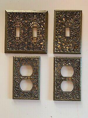 Vintage Mid Century Hollywood Regency Switchplate Outlet Cover Lot Antique Brass
