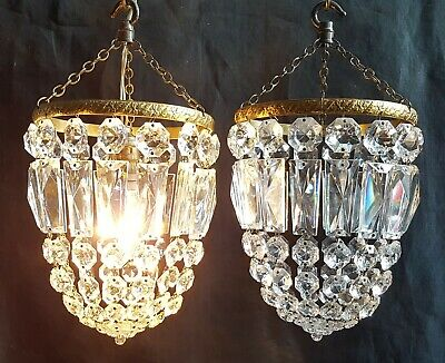 Vintage Pair Crystal Glass & Gilt Brass Pendant Chandelier Ceiling Light Shades
