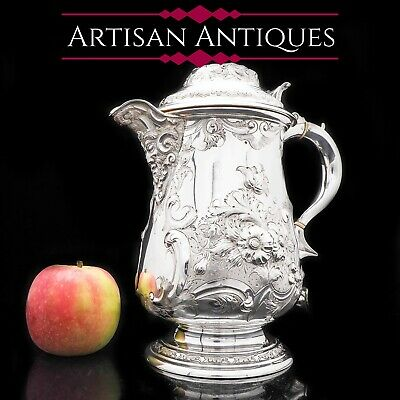 Antique Solid Silver Flagon/Tankard with Original Victorian Chased Motifs - 1862