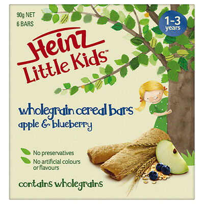 NEW Heinz Wholegrain Cereal Bars Apple Blueberry Sized Shaped For Little Ones