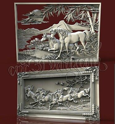 2 3D STL Models Horses Panel CNC Router Carving Machine Artcam aspire Cut3D