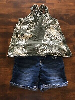 Justice Girls Set Top & Jean Shorts Size 10