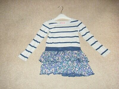 Girls Blue Floral/Striped Dress Age 4 Years from Next
