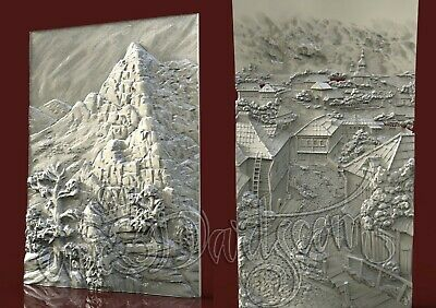 2 3D Models STL for CNC Router Artcam Aspire Landscape Stones Panel Cut3D Vcarve