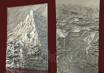 2 3D STL Models Landscape Panel CNC Router Carving Machine Artcam aspire Cut3D