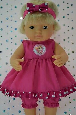 Dolls Clothes For 38cm Miniland Doll HOT PINK DRESS~BLOOMERS~HEADBAND