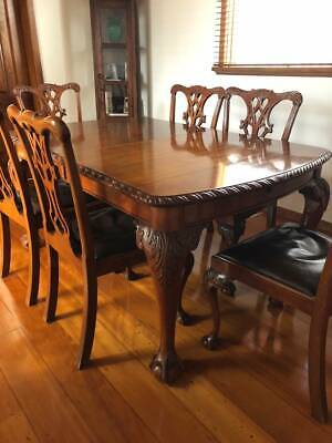 Antique Chippendale Dining Table Set circa 1920s