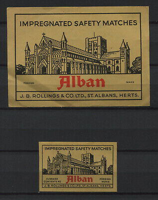 Alban Safety Matches Foreign Made Vintage Matchbox Label Big Size