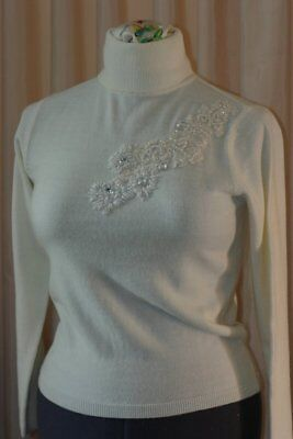 Vintage cashmere roll neck sweater beading cream wool made in Spain Small Ladies