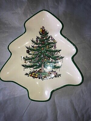 Spode Christmas Tree Shaped Plate Serving Tray Dish England Green Trim Holiday
