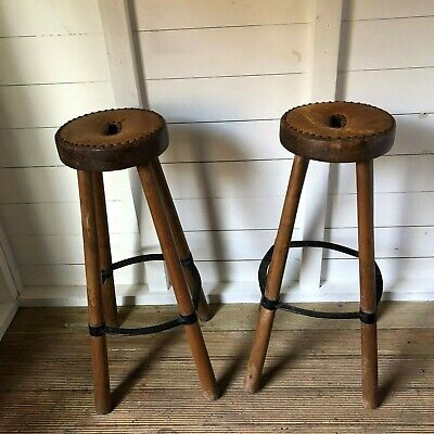 Pair of Rustic Wooden Leather Studded Kitchen Breakfast Bar Stools (Del Extra)