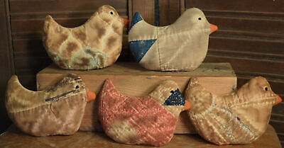 Primitive  5 Quilted Chickens Bowl Fillers Cupboard Tucks Easter Chicks