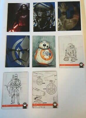 2019 Topps STAR WARS Journey to the Rise of Skywalker LOT OF 8 INSERTS
