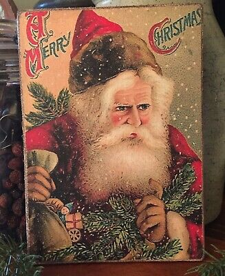 """Primitive Antique Repro Santa in Red Merry Christmas Print on Canvas Board 5x7"""""""