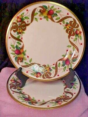 2 Lenox HOLIDAY TARTAN (GOLD RIM) Luncheon Plate Dimension Collection Made in US