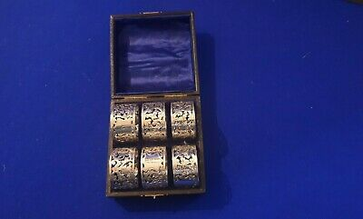Six Cased Edwardian Sterling Silver Pierced Napkin Rings - Chester 1902