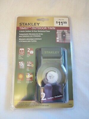 Stanley Timeit Outdoor 24 Hour Mechanical Timer 2 Outlet New in Package