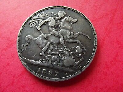 "OLD -  1897 - ""ONE CROWN"" SILVER Coin - Great Britain - Queen Victoria - RARE"