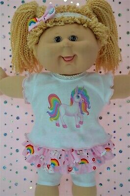 """PlaynWear Dolls Clothes For 16""""Cabbage Patch SKIRT/BUILT-IN TIGHTS~TOP~HEADBAND"""