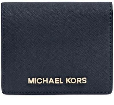 NWT Michael Kors JET SET TRAVEL CARRYALL Card Case Coin Purse Wallet In Navy