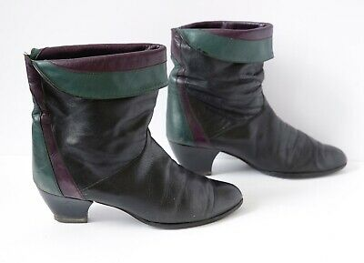 vintage 80s 90s pixie boots, rock chic, black purple  green leather aprox 8.5