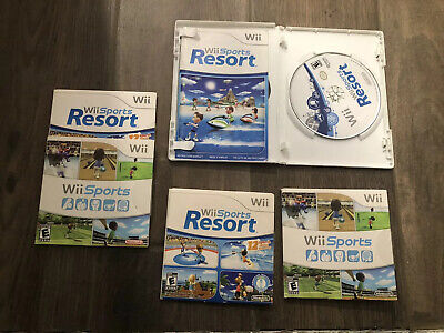 Wii Sports and Wii Sports Resort Nintendo Wii Lot  Of 3 Good Condition + Case