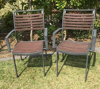 2 X Outdoor Freedom Furniture Garden Dining Chairs Seats Wood Tmber / Aluminium
