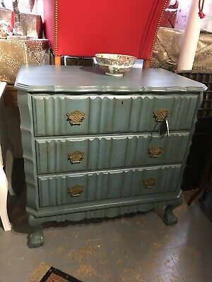 Antique Vintage Painted French Chest Of Drawers Farrow And Ball Ichra Blue