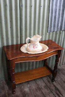 An Antique Cedar Wash Stand with Staffordshire Oval Bowl & Jug
