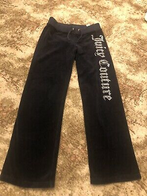 Girls JUICY COUTURE black cotton velour trousers Age 10