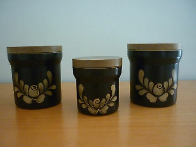 Vintage Retro 3 Denby Bakewell Canisters With Lids (1 Small & 2 Medium) England