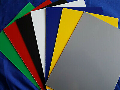 1mm Plastic Sheet Blue, Red, Yellow, Green, Grey, Black & White Selection Pack