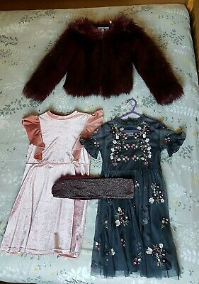 girl winter outfit age 7-8 8-9 girls next dress fur coat tights