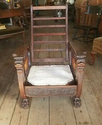 Victorian Figural Lion Griffin Morris Chair