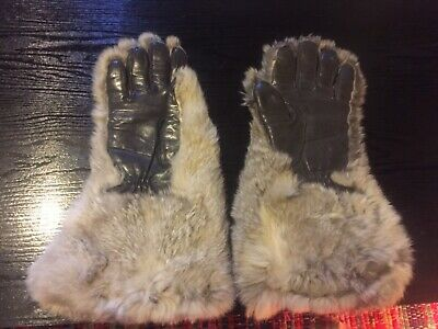Vintage genuine fur and leather gloves/ gauntlets, warm winter mittens GoT style