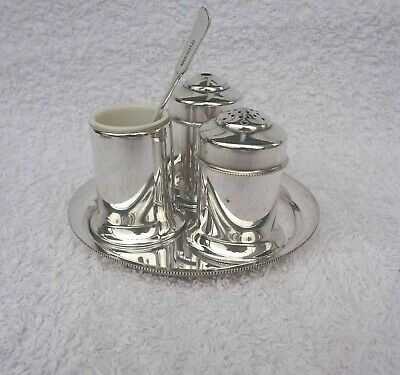 Vintage Silver Plated Salt Pepper And Mustard Pots & Tray & Spoon By T.b Star