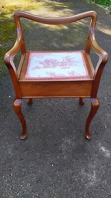Old Antique Piano Stool Chair Lift Up Lid Toile De Jouy Pink Seat