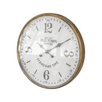 """Old Town Station Wall Clock 23.5"""" Glass Front Antique Brass Finish"""