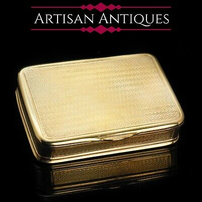 Antique Solid Silver Snuff Box - Silver Gilt & Engine Turned - John Reily, 1829