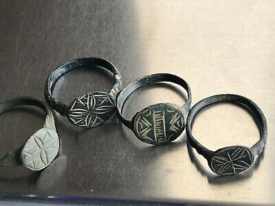 Lot of 4 Ancient Viking Old Bronze FABULOUS STATUS Ring Runic Ornament VERY RARE