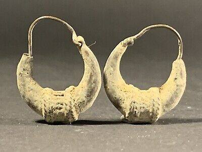 Ancient Viking Norse Silver Decorated Earring Pair Circa 800-900 Ad - Very Rare