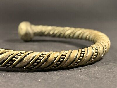 Ancient Viking Norse Solid Silver Bracelet With Large Terminals Circa 700-900Ad