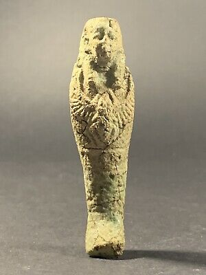 Ancient Egyptian Stone Shabti Featuring Winged Scarab On Chest - Circa 770-332Bc