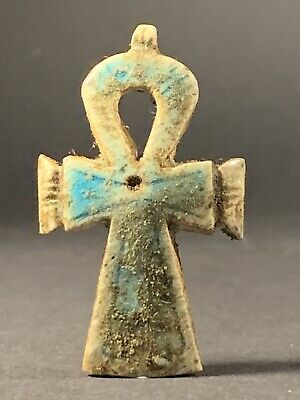 Ancient Egyptian Glazed Faience Key Of Life With High Detailing Circa 770-332Bc